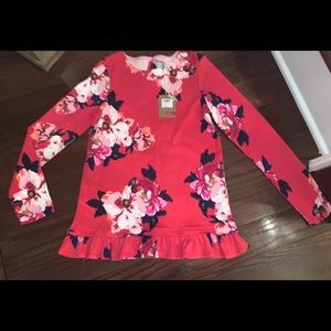 Joules flowered, ruffled top